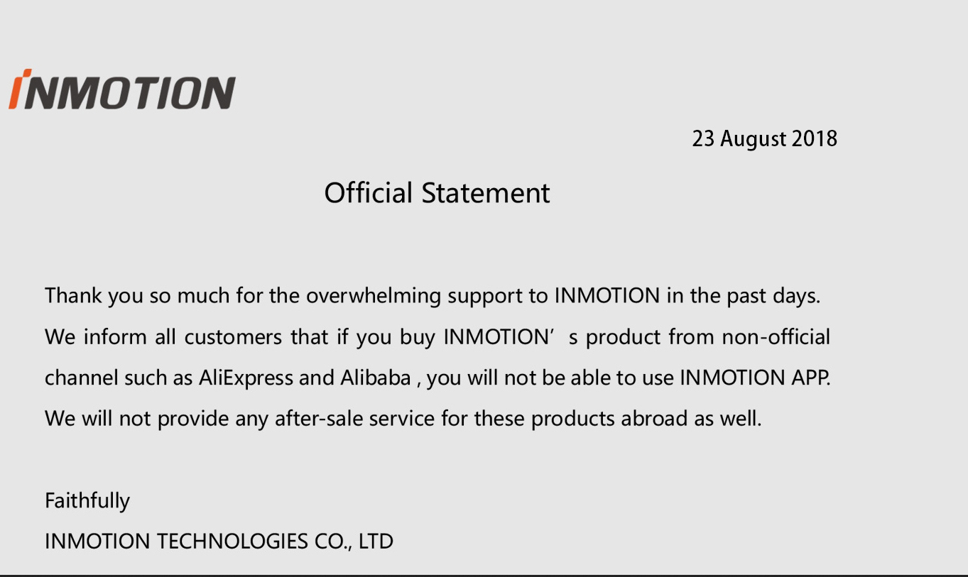 Inmotion Official Statement for App and After-sale Service
